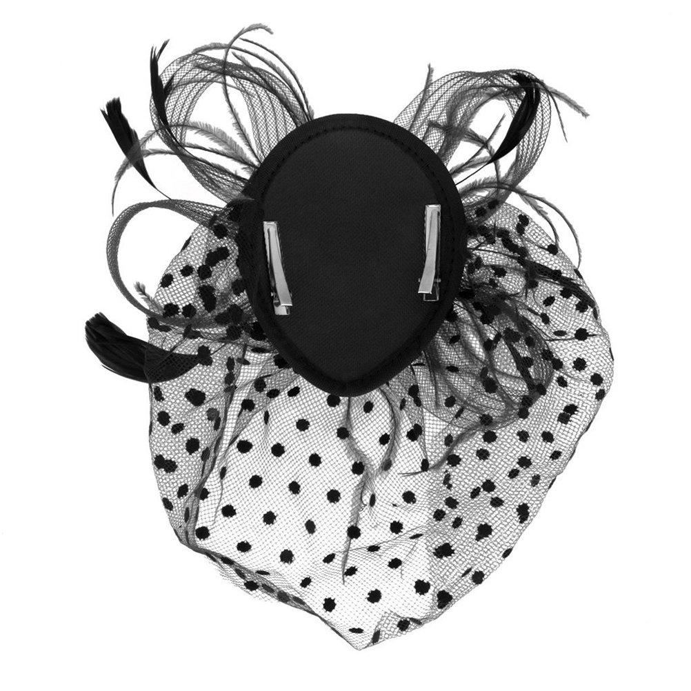 Tinksky Retro Style Bird Cage Mesh Bridal Face Veil Feather Fascinator Hair Clip Wedding Valentine's Day Hair Accessory Black OS, Hat dimension: 13cm x 10cm