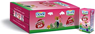 Lacnor Essential Long Life Milk Strawberry Flavor, 125ml - (Pack of 24)