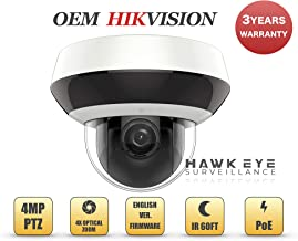 4MP PoE Mini PTZ Camera - Compatible with Hikvision DS-2DE2A404IW-DE3 Pan Tilt 2.8mm~12mm 4X Optical Zoom Indoor and Outdoor IR Audio Alarm in and Out H.265+ (Free PoE Injector Included)