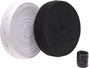 "Penta Angel 2 Colors Elastic Sewing Bands 11 Yards 3/4 Inch Flatback Black and White Sewing Bands Spool with Buttonhole, Knit Stretch Cord Belt with 10Pcs 18mm Black Resin Button (3/4"")"