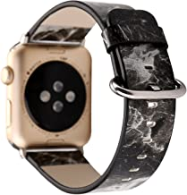 Flower Design Strap for iWatch,38mm 42mm Floral Pattern Printed Leather Wrist Band Apple Watch Link Bracelet for Apple Watch Smartwatch Fitness Tracker Series 2 Series 1 Version (Black Marble 38mm)