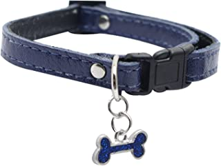 Dogit Leather Style Adjustable Dog Collar with Buckle and Pewter Bone Charm, 6-10-Inch, Blue