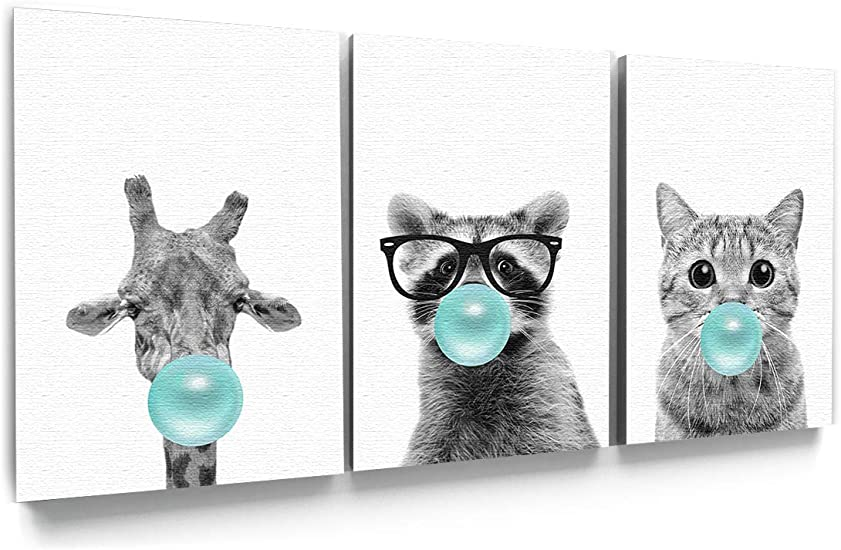 Funny Raccoon Canvas Decor Print Wall Art Set of 2 Collection. Funny Animal Wall Art Bubble Gum Canvas Painting Raccoon Blow Bubble Gum