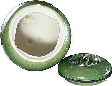 Byer of Maine Egg Bird Home for Small Songbirds, Meadow Green, High Fired Porcelain Stoneware, Ceramic Bird House, Glaze Fini