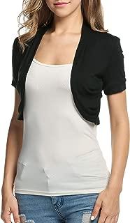 Women's Short Sleeve Ruffle Shrug Open Front Casual Cardigan Bolero Jacket