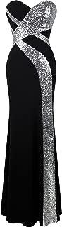 Women's Strapless Sweetheart Criss-Cross Classic Black White Evening Dress