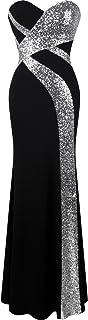 Angel-fashions Women's Strapless Sweetheart Criss-Cross Classic Black White Evening Dress
