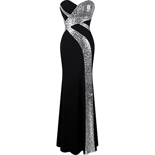 5e785505fac8 Angel-fashions Women s Strapless Sweetheart Criss-Cross Classic Black White  Evening Dress