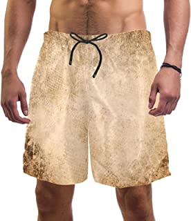 henghenghaha Mens Swim Shorts Waterproof Quick Dry Beach Shorts with Mesh Lining,Brown Vintage