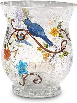 We Love by Pavilion 3-1/2 by 3-Inch Crackled Glass Tea Light Holder