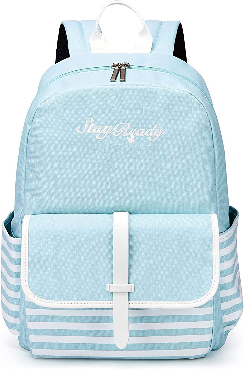 LBYMYB Fashion Wild Bag White Striped Casual Canvas Backpack kids's backpack (color   Light bluee)