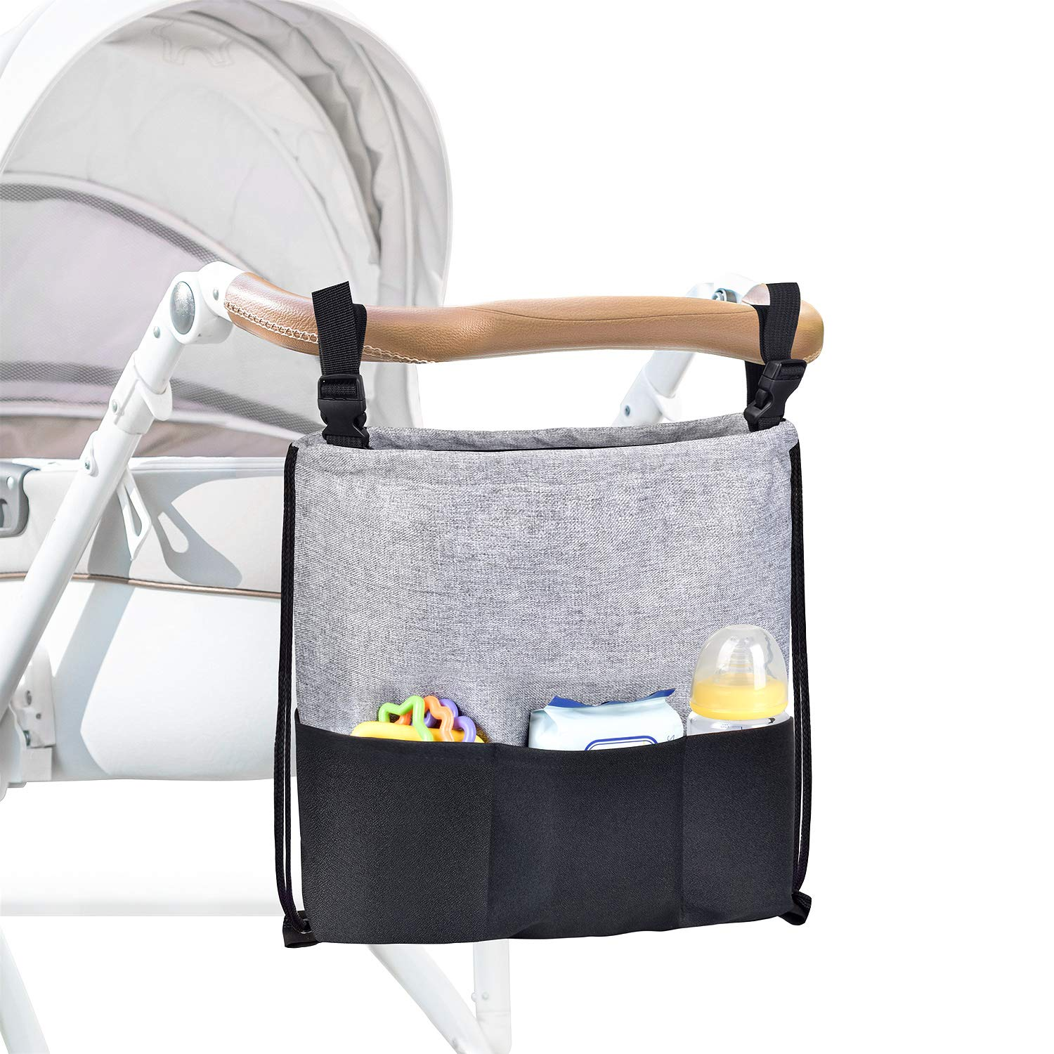 Universal Stroller Organizer Large Capacity Portable Baby Stroller Storage Bag 2way To Use Fit All The Baby Strollers Gift for Newborns - L.Gray