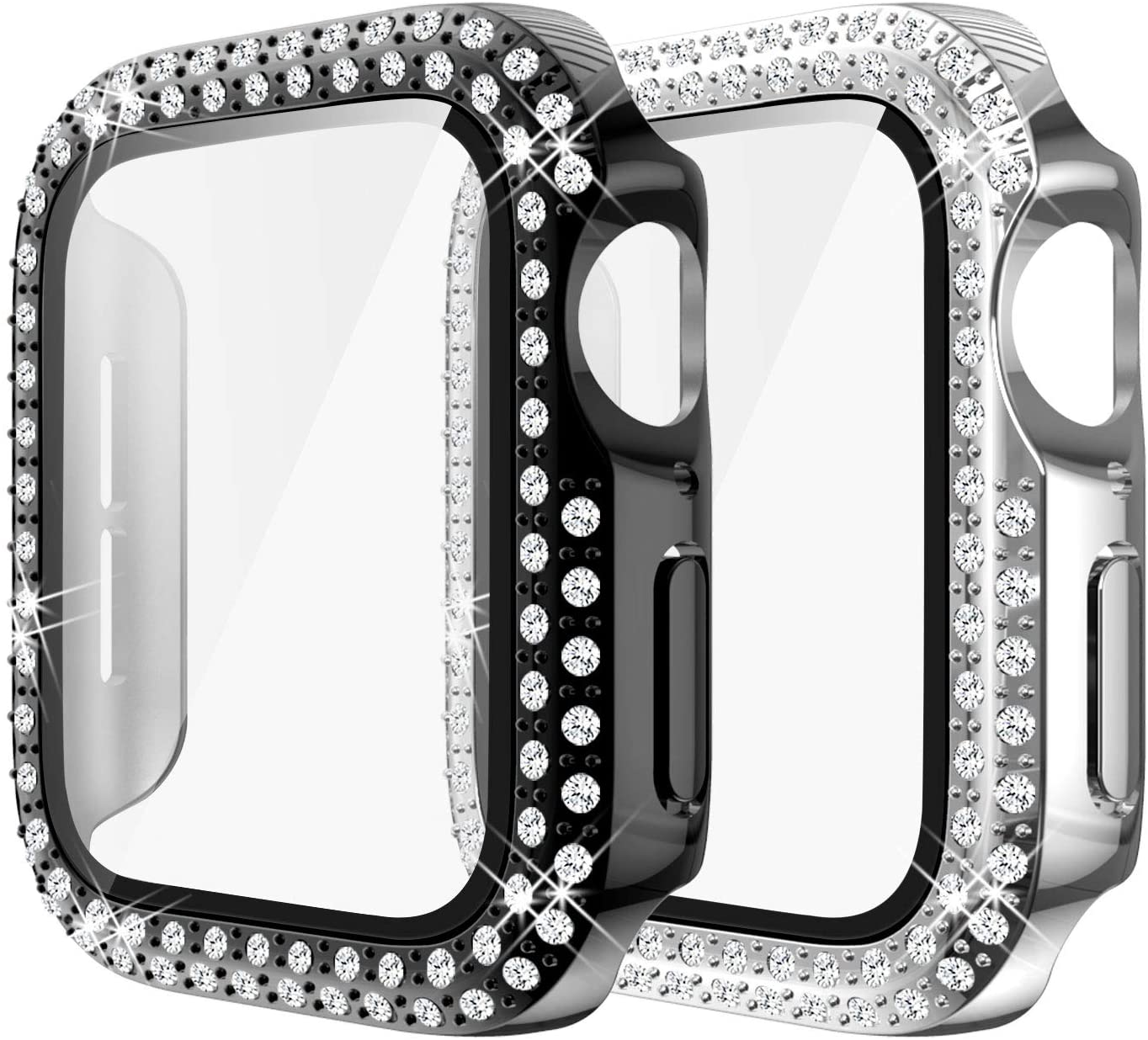 Yolovie (2-Pack) Compatible for Apple Watch Case with Screen Protector 40mm Series 6/5/4/SE, Bling Cover Diamonds Rhinestone Bumper Protective Frame for iWatch Girl Women (Black/Silver)