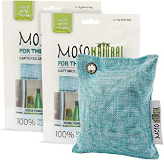 MOSO NATURAL Air Purifying Bag for The Refrigerator. Freezer and Fridge Odor Eliminator. More Powerful Than Baking Soda. (2) Individually Sealed Bags.