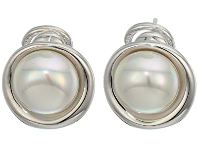 Majorica 10 mm Margot Button Pearl Post Clip Earrings in Steel (Silver) Earring