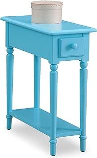 Leick 20017-BL Coastal Narrow Chairside Table with Shelf, Regatta Blue