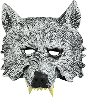 Half Face Wolf Mask for Cosplay Halloween Masquerade Gray