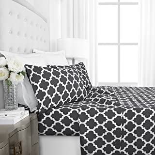 Italian Luxury 1800 Series Hotel Collection Quatrefoil Pattern Bed Sheet Set - Deep Pockets, Wrinkle and Fade Resistant, Hypoallergenic Printed Sheet and Pillow Case Set -King - Gray