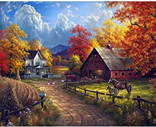 Grace Painter 5D DIY Diamond Painting Village Farm Scene Cross Stitch Paint by Number Kit Embroidery Rhinestone Painting Full Drill Round Diamond for Wall Decor Canvas Size 15.7x19.6Inches