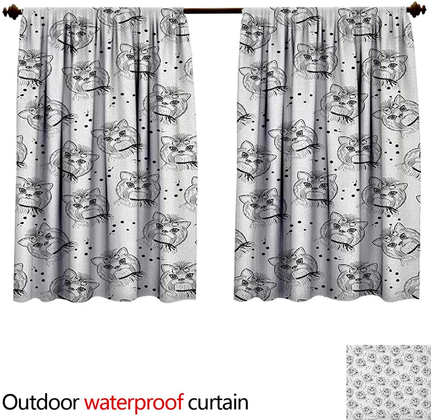 Black and WhiteAntiwaterCute Dog Pattern with Buckle and Collar Monochrome House Pet Illustration W55 x L45(140cm x 115cm) Curtain for Outdoor Black White