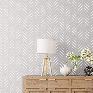 """Herringbone Simple Large Wall Stencil for Painting - XL Size 24""""x40"""" - Geometric Stencil Accent Wall"""