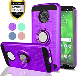 YmhxcY Moto G6 Case, Moto G (6th Generation) Phone Cases with HD Phone Screen Protector, 360 Degree Rotating Ring & Bracket Dual Layer Resistant Back Cover for Motorola Moto G6 5.7 Inch-ZH Purple