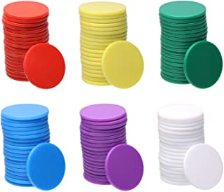 Shapenty 6 Colors Small Plastic Learning Counters Disks Bingo Chip Counting Discs Markers for MathPractice and Poker Chip...