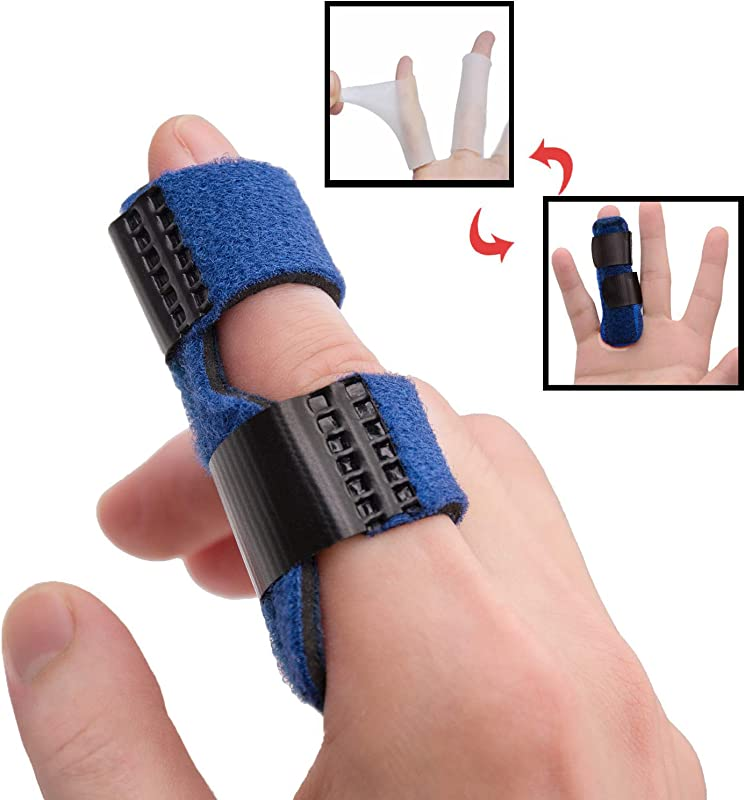 Trigger Finger Splints Plus 2 Gel Sleeves Finger Knuckle Immobilization Mallet Finger Brace For Broken Finger For Arthritis Pain Sport Injuries Basketball Baseball Bowling
