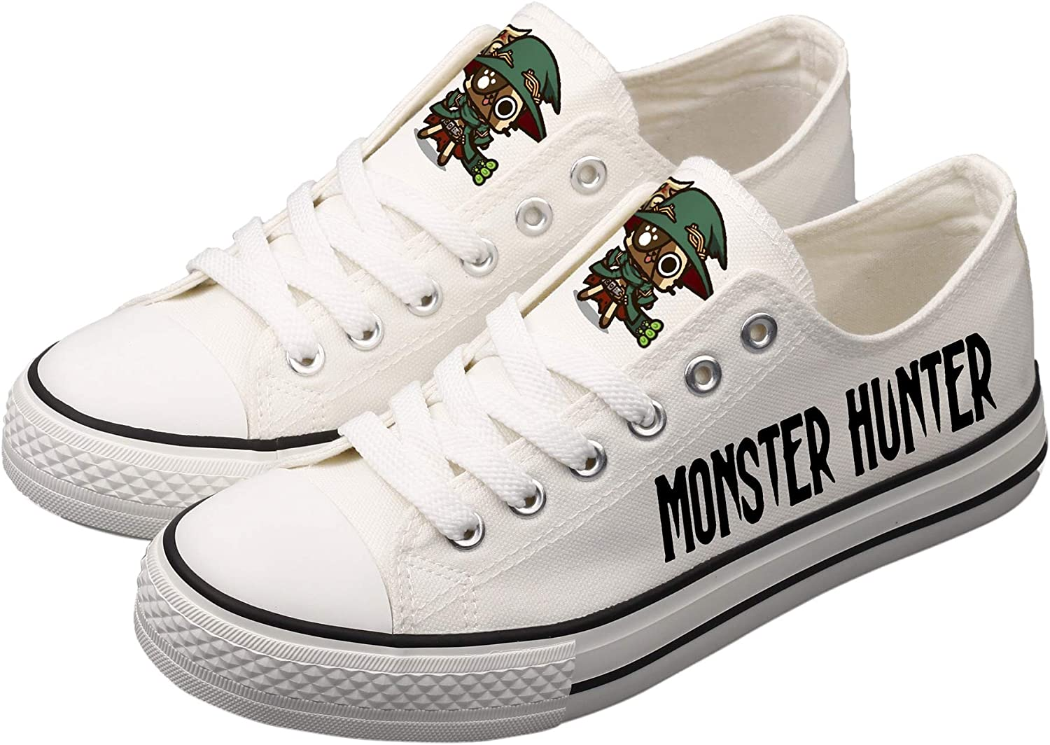 BEGOOTION Monster Hunter Hand-Painted Canvas shoes Unisex Designs Casual Canvas shoes Cosplay Low Cut Sneakers