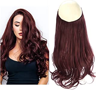 SARLA Halo Hair Extension Secret Invisiable Flip Hidden Wire Crown Wine Red Natural Curly Long Synthetic Hairpiece For Women Japan Heat Temperature Fiber 18