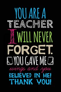 You Are A Teacher I Will Never Forget. You Gave Me Wings And You Believed In Me! Thank You!: Lined Journal Notebook For Writing In