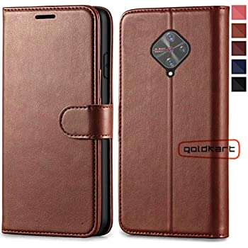 GoldKart® Flip Case for Vivo S1 Pro | PU Leather Wallet Stand | TPU Inside | Magnetic Closure | Back Case Cover for Vivo S1 Pro (Vivo S1 Pro, Brown)