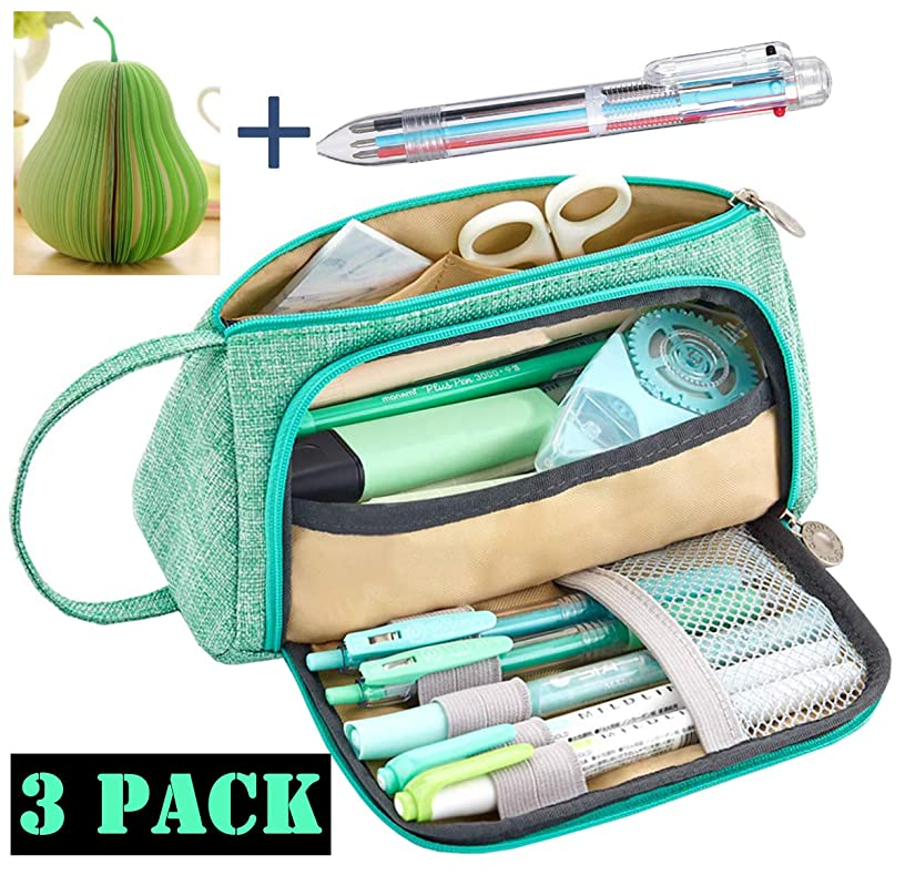 Big Capacity Pencil Pen Case Bag Pouch Holder for Middle High School Office Girl Adult Large Storage Pencil Case-Includes 1PCS Post-it Note and 1PCS Multicolor Ballpoint Pens(Green)