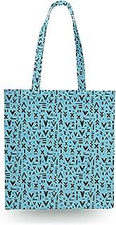 Inked Geometric Symbols Blue - Zipper Canvas Tote Bag - Canvas Tote Bag