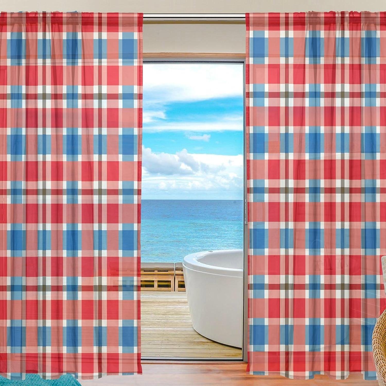 Vantaso Sheer Curtains 78 inch Long Red bluee Plaid Geometric for Kids Girls Bedroom Living Room Window Decorative 2 Panels