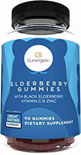 Premium Black Elderberry Gummies – Black Elderberry with Vitamin C & Zinc – Helps Support Immune System – Great Tasting Sambucus Elderberry Gummies – Raspberry Flavored Elderberry Gummies – 90 Gummies