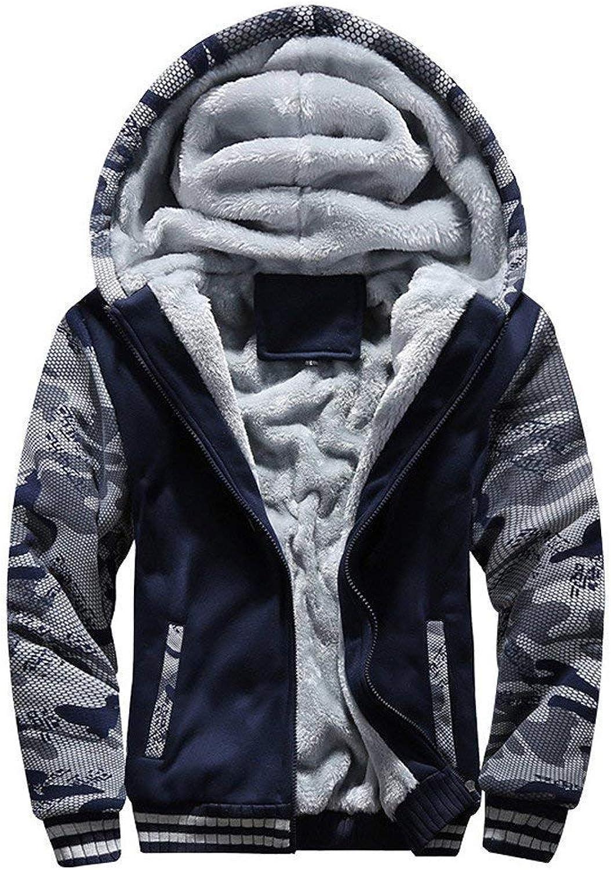 Dolwins Winter Warm Heavyweight Sherpa Lined Zip Up Fleece Hoodie Jacket Outwear for Men