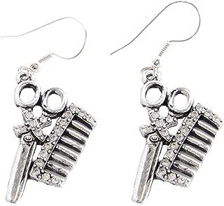 Hair Stylist Clear Crystal Scissors & Comb Fashion Earrings Barber Beauty Shop Salon Jewelry