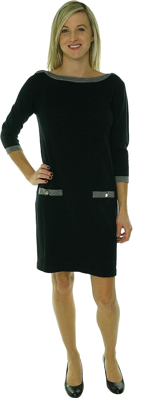 Nine West Women's Studded Faux Pocket Knit Sweater Dress (S, Black/Steel)