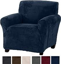 Great Bay Home Modern Velvet Plush Arm Chair Slipcover. Strapless Chair Cover, Stretch Slipcover for Arm Chairs, Soft Chair Cover for Living Room. (Chair, Dark Denim Blue)