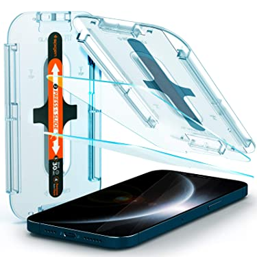 Spigen Tempered Glass Screen Protector [Glas.tR EZ Fit] designed for iPhone 12 Pro Max (2020) [6.7 inch] [Case Friendly] - 2 Pack
