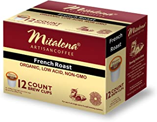 Mitalena French Roast Organic Arabica Low Acid Coffee 72 ct K-cup (6 packs of 12 ct)