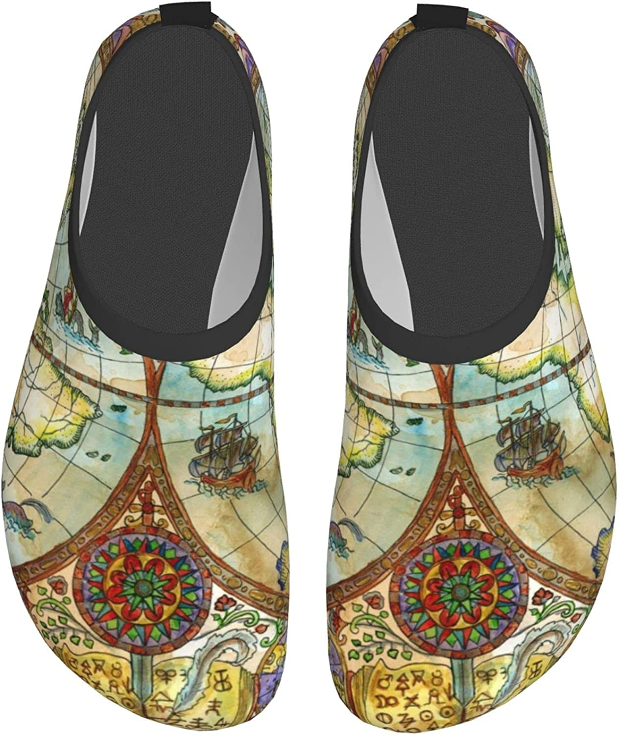 Vintage World Atlas Map Water Shoes for Womens Mens Barefoot Qui