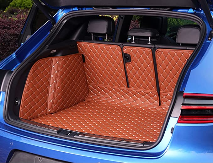 Car Trunk Mat Floor Mat Custom Made for 95/% of Car Models Full Coverage All Weather Trunk Protection Waterproof Cargo Mat Non-Slip Leather Liner Set Black red
