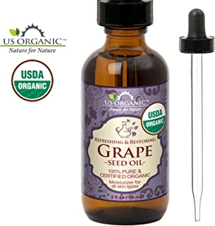 US Organic Grape Seed Oil, USDA Certified Organic, 100% Pure & Natural, Cold Pressed Virgin, Unrefined, in Amber Glass Bottle w/Glass Eye dropper for Easy Application (2 oz (56 ml))