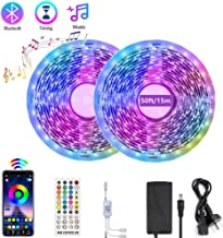 Renovo Bluetooth LED Strip Lights 50FT, Music Sync LED Light Strip Controlled by Smart Phone APP, LED Lights 15m 450LEDs R...