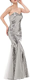 Jonlyc 2019 Women's Mermaid Sequin Long Prom Dresses Formal Evening Gowns