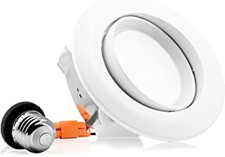 Parmida (1 Pack) 4 inch Dimmable LED Adjustable Gimbal Eyeball Retrofit Recessed Downlight, 10W (65W Replacement), Directional Swivel Can Lighting Trim, 650lm, Energy Star & ETL, 5000K (Day Light)