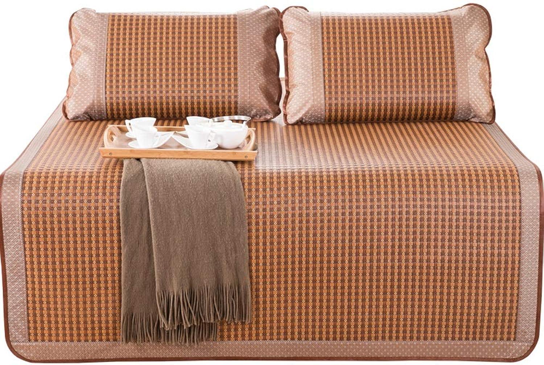 DDSS Summer Mattress Bamboo Cool Mattress - Family Dormitory Bed Rattan Folded Summer Ice Silk Seat, No Pillowcase - Multiple (Size   90X195cm)