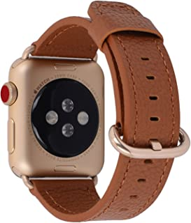 PEAK ZHANG Compatible with Apple Watch Band 38mm 40mm 42mm 44mm Women Men Genuine Leather Replacement Strap with Champagne Gold Adapter and Buckle for iWatch Series 4,3,2,1(Light Brown,38mm 40mm S/M)